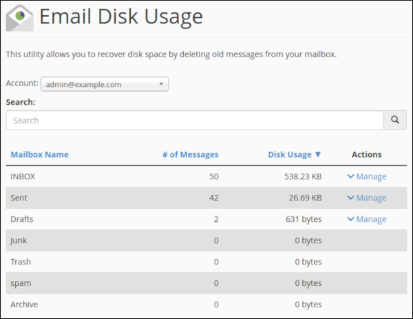 cPanel - Email Disk Usage page