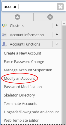 WebHost Manager - Modify an Account
