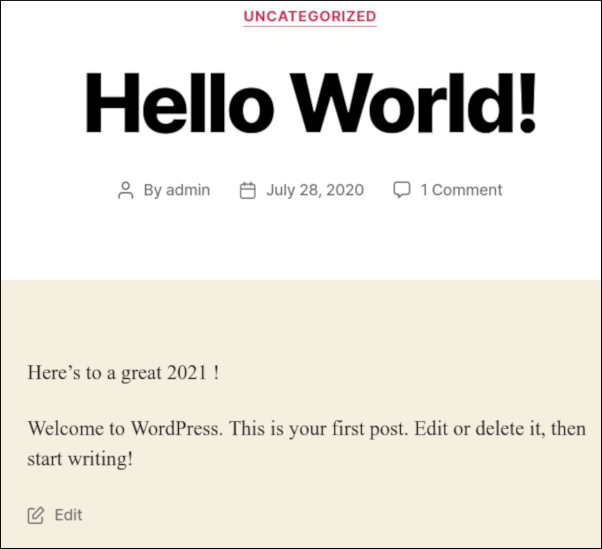 WordPress - Current year example - Post
