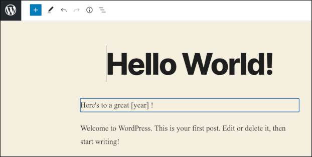 WordPress - Current year example - Editing
